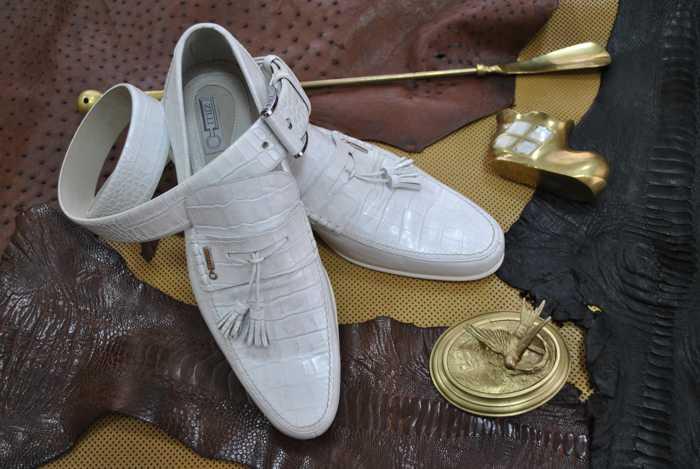 Туфли (белая кожа крокодила)