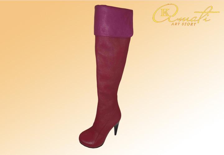 Модные женские сапожки из кожи 0500